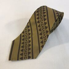 Vintage Green Striped Geometric 1970s Funk Polyester Men's Neck Tie