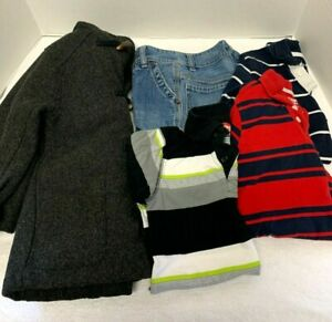 Boys Size 4 Clothes, Mixed Lot of Jeans, Shirts and Wool Coat, Pre-owned VG.