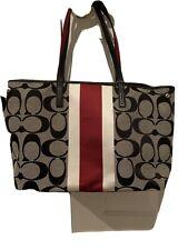 Coach Black Signature Canvas Stripe Tote Shoulder Bag Handbag Purse