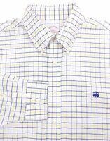 Brooks Brothers Men's Large Long Sleeve Shirt White Blue Yellow Plaid Non-Iron