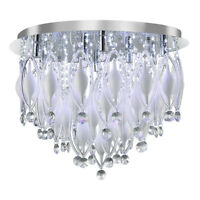 Searchlight Spindle 9 LED Lights Chrome White Glass Ceiling Fitting Chandelier