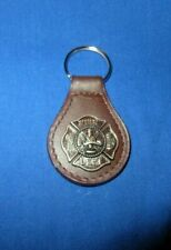 Brown Leather Silver Firefighter Fireman Maltese Cross Concho Key Ring Chain NEW