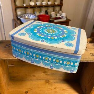 Vintage 1970's Colourful Blue Flower Storage Tin – Ira Denmark – Retro!