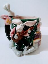 """FITZ & FLOYD Sock Hoppers Planter Retired """"The Wild Hares Band"""" 1994 Rabbits"""