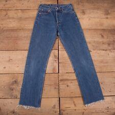 "Vintage Levis 501 Dark Blue Raw Hem Straight Leg Denim Jeans 28"" x 31"" R18093"