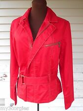 NWT CAbi Nautical Red Structured Belted Zip Jacket Coat Women's Size Large SEXY