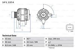 Micra,Clio,Megan,Scenic 1.5 dci Bosch 0986080140 Alternator