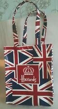 Harrods Small Bag. Union Jack Flag. British. Lunch. PVC Wipe Clean. Handbag