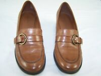 Predictions Beige Brown Leather Slip On Heels Shoes Womens Size 7.5 7-1/2