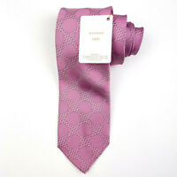 NWT DOLCEPUNTA SEVENFOLD Mens Neck Tie Bold Pink 100% Silk HANDMADE IN ITALY