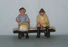 """Vtg. Lead Britains / Johillco """"Farmer's Daughter & Old Man Seated On Log Seat"""""""