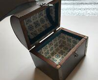 Rustic Vintage Wood Hinged Treasure Chest Box Trinket Stash Folk Art Small Trunk