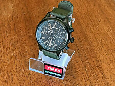 New TIMEX Expedition Field Chronograph Indiglo 43mm Case Black w/O.D. Band