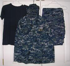 US Navy Working Uniform NWU Digital Blue Camo BDU Medium Regular w/ Hat T-Shirt