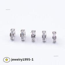 Zircon Gemstone Micro Pave Rondelle Charm Bracelet Spacer Beads Jewelry Finding