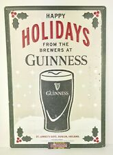 Guinness Irish Stout Happy Holidays Christmas Metal Beer Sign 20x14� Brand New!
