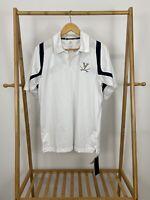 Adidas Men's University of Virginia Short Sleeve White Polo Performance Shirt S