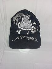 Ed Hardy Tattoo Love Skull Hat Trucker Black Embroidered Snapback EUC