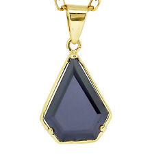 3.45 Carat Black Diamond Pendant Superman Shield 14k Yellow Gold