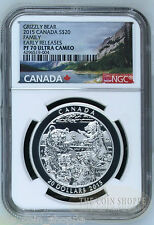 GRIZZLY BEAR - FAMILY -  EARLY RELEASES NGC PF70 UC - 2015 $20 1 oz Silver Coin