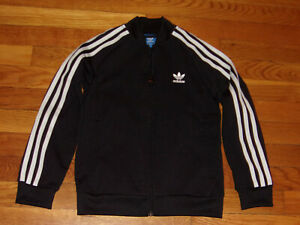 ADIDAS TREFOIL FULL ZIP BLACK/WHITE ATHLETIC JACKET BOYS SMALL 8 EXCELLENT COND.