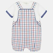 Spanish Mayoral Baby Boys White T-Shirts with Check Dungaree Set