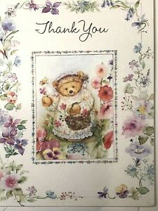 Mary Hamilton ? ~ Bear in Dress ~ Hallmark Heartline Thank You Note Card