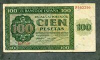 billete 100 PESETAS burgos  1936   serie P582356  MBC + MUY BUEN APESTO