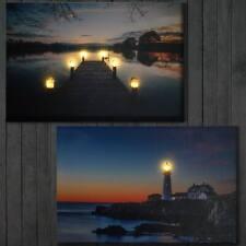 2x LED-Bild, Leuchtbild Wandbild Leinwandbild 60x40cm, Timer, Lighthouse