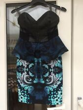 LIPSY Faux Leather Peplum Bodycon Dress Size 8