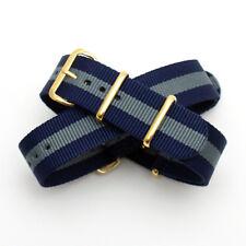 Navy Blue / Grey Stripe Nato Watch Strap : Gold Buckle & Keepers : 20mm (FL201)