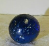 9663m Vintage German Handmade Blue Glass Mica Marble .63 Inches