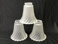 """Set 3 Vtg Victorian Art Deco Glass Lamp Shade Frosted Bell Rib Swirl 2 1/8 1/4"""""""