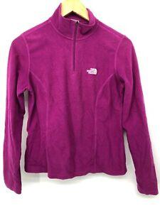 North Face Womens Fleece Pullover Purple Half Zip Long Sleeve Cozy Small