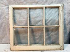 VTG 6 Pane Wooden  Window sash wavy Glass 7.5 x 9.5 primitive frame 24 x 28in