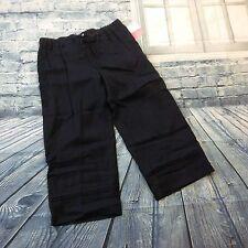 "NWT Liz Claiborne ""Livvy"" Black Linen Drawstring Comfort Waist Size 10 Crop Pant"