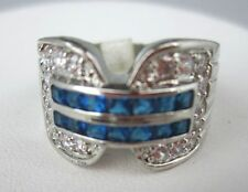 Silvertone Ring TOPAZ Blue Stone Size 8.5 BAND Cubic Zirconia High Quality Bling