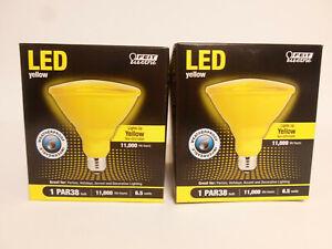 (2) LED YELLOW PAR38 FLOOD LIGHT WEATHERPROOF Indoor Outdoor Bulb Feit Electric