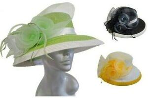 Women's wide Brim Paper braid summer straw church Derby Easter Sunday hat