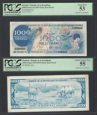 Burundi 1000 Francs 1-6-1967 P25p Essay Face & Back About Uncirculated