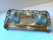 English Sterling Double Inkwell Cut Glass Barker Ellis Birmingham 1992
