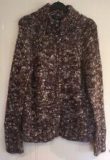 CASUAL CLUB DEBENHAMS- Ladies Chunky Brown Mix Cardigan - Size 14