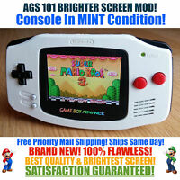 Nintendo Game Boy Advance GBA White NES System AGS 101 Brighter Backlit Mod MINT