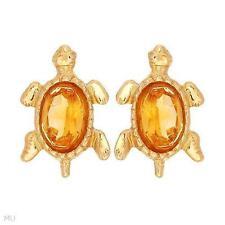 10 Carat Oval Yellow Gold Fine Gemstone Earrings