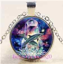 Crystal Dolphins Photo Cabochon Glass Tibet Silver Chain Pendant Necklace