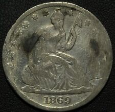 1869 S Seated Liberty Silver Half Dollar - Semi-Key Date! - Obverse Damage