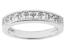 Genuine 1.00ct Diamond Wedding Band Ring 14k White Gold Princess I SI2 Channel