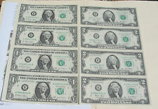 3=2+1: USA$1 & $2 of 4 UNCUT SHEETS/Each,Real Paper Bill & 2 Infors.+ Old Cent