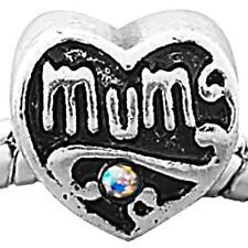 Mum Heart Charm Bead with AB Rhinestones Fit Silver European Charm Bracelet m24