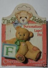 "CHERISHED TEDDIES ""PERSONALIZED - LAPEL PIN LETTER 'F'"" 203297F  MINT"